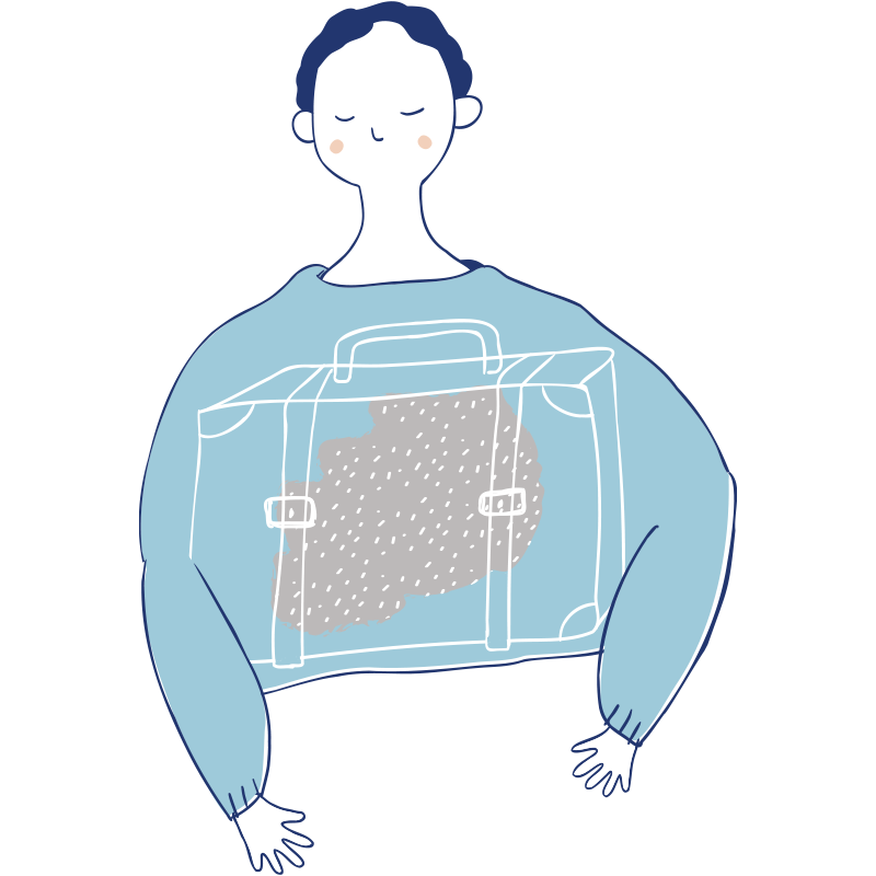 Voksen med koffert
